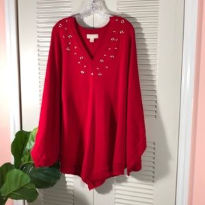 MICHAEL KORS  3X RED SWEATER PONCHO  NWOT